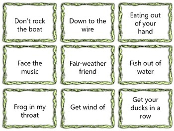 99 Idiom Flashcards or Memory Game - Figurative Language Common Core