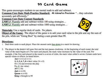 99 Math Card Game