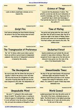 {99 Novel} Ayn Rand Anthem Character & Vocabulary notecards study aid