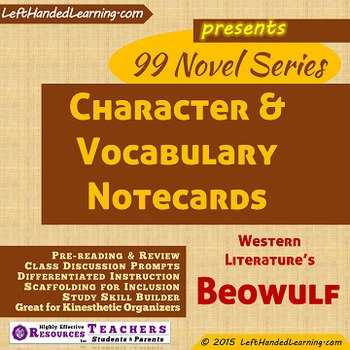 {99 Novel} Beowulf of Ancient Western Lit Character & Vocabulary note cards