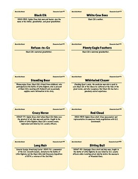 {99 Novel} Black Elk Speaks Character & Vocabulary notecards study aid