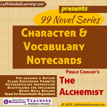 {99 Novel} Character Notecards Plus Vocabulary for The Alchemist by Paulo Coelho