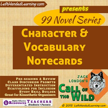 {99 Novel} Character Notecards for Call of the Wild by Jack London