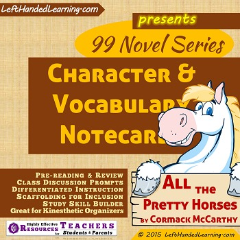 {99 Novel} Character & Vocabulary Cards Cormack McCarthy All the Pretty Horses