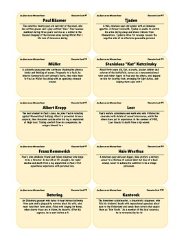 {99 Novel} Character & Vocabulary Note cards for All Quiet on the Western Front