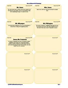 {99 Novel} Character & Vocabulary Notecards for Animal Farm by George Orwell