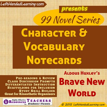 {99 Novel} Character & Vocabulary for Brave New World by A