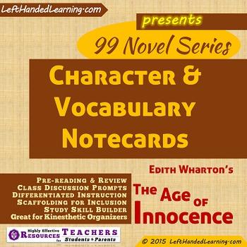 {99 Novel} Character & Vocabulary notecards Edith Wharton's The Age of Innocence