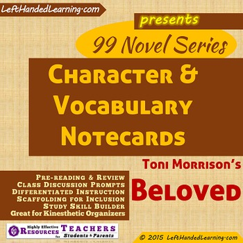 {99 Novel} Character & Vocabulary notecards for Beloved by