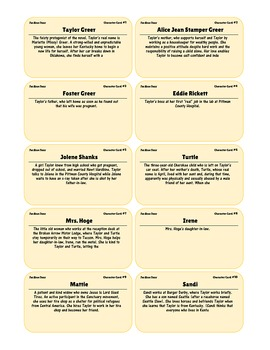 {99 Novel} The Bean Trees by Barbara Kingsolver Character & Vocabulary notecards