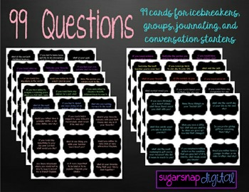 99 Questions-Cards for Groups, Icebreakers, Discussions, and Writing Prompts