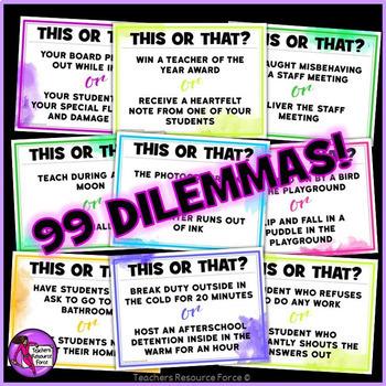 This or That Ice Breaker Dilemmas for Teachers (editable!)