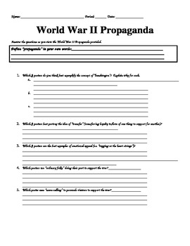 UNIT 12 LESSON 10. WWII#10: Propaganda Analysis WORKSHEET
