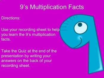 9's Multiplication Facts PowerPoint with Graphic Organizer and Tips