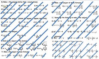 9th 10th 11th grade Rearranging Formula.