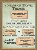 9th-10th Grade ELA Common Core Posters - Vintage or Travel Theme
