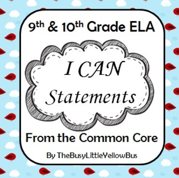 """9th & 10th Grade ELA """"I Can..."""" Statement Posters (Cardinals & Clouds)"""