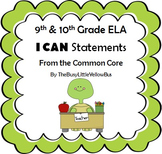 "9th & 10th Grade ELA ""I Can..."" Statement Posters (Turtle Green)"