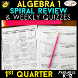 Algebra 1 Review & Quizzes | Homework or Warm Ups | 1st QUARTER