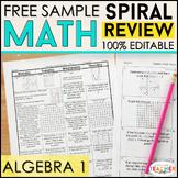 Algebra 1 Spiral Review | 2 Weeks FREE