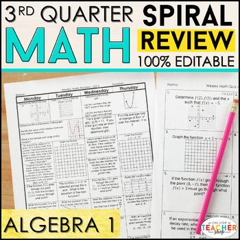 Algebra 1 Spiral Review   Algebra 1 Homework or Warm Ups