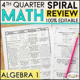 Algebra 1 Review | Homework or Warm Ups | 4th Quarter