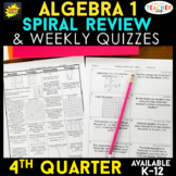Algebra 1 Review | Homework or Warm Ups | 4th Quarter