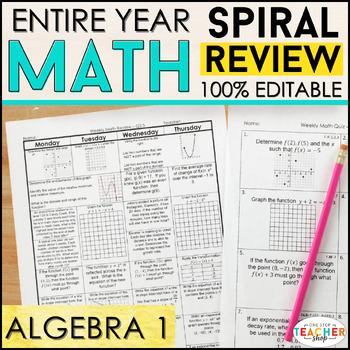 Algebra 1 Spiral Review | Algebra 1 Homework or Warm Ups ENTIRE YEAR