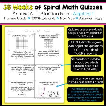 Algebra 1 Spiral Review | Algebra 1 Homework or Warm Ups