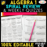 Algebra 1 Spiral Review & Quizzes | Algebra 1 Homework or Warm Ups ENTIRE YEAR