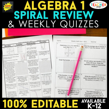 Algebra 1 Spiral Review | Algebra 1 Review Homework & Quiz BUNDLE