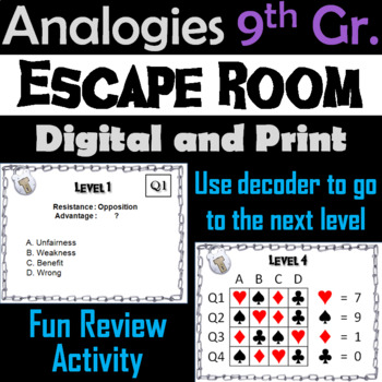 9th Grade Analogies Escape Room - ELA (Vocabulary Game)