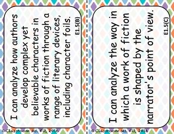 "9th Grade ELA ""I CAN"" Statements ~ TEKS"