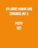 9th Grade English Common Core Unit 3 Test: Poetry