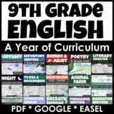 9th Grade English Curriculum Bundle for a Full Year for Print & Google Classroom