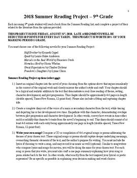 9th Grade English ELA Summer Reading Project Options - Novels, Prompts, Rubrics