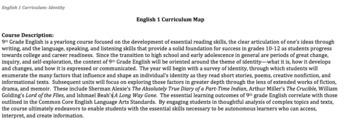 9th Grade English Full Year Curriculum Map