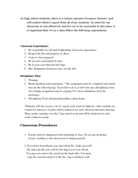 9th Grade English I Classroom Expectations, Rules, and Procedures