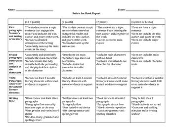 9th Grade English Language Arts Book Report