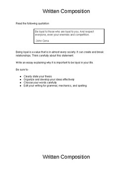 9th Grade Expository STAAR Prompts