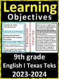 9th Grade Texas TEKS English I Learning Objectives Cards |