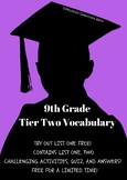 9th Grade Tier Two Vocabulary- List One with Activities, Quiz, and Answers