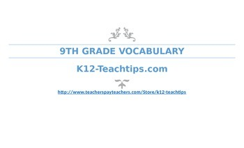 9th Grade Vocabulary (>200) Student Assessment Chart