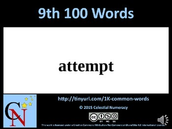 9th Hundred Words with Audio - 1,000 Word Fluency Program (Free)