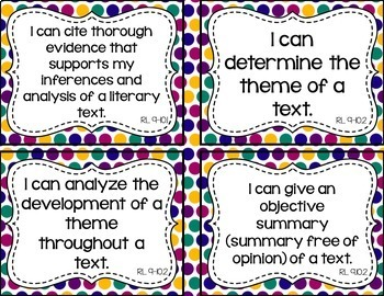 9th and 10th Grade ELA I Can Statements for CCSS (Jewel Tone Polka Dots)