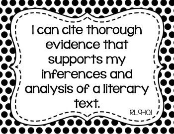 9th and 10th Grade ELA I Can Statements for CCSS Standards (Black Polka Dots)