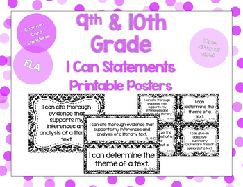 9th and 10th Grade ELA I Can Statements for CCSS Standards (Damask)