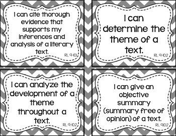 9th and 10th Grade ELA I Can Statements for CCSS Standards (Gray Chevron)