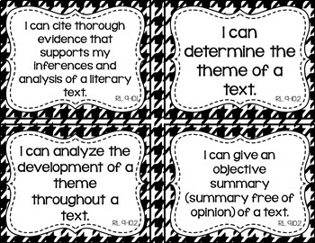 9th and 10th Grade ELA I Can Statements for CCSS Standards (Houndstooth)