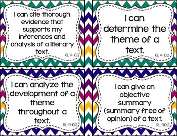 9th and 10th Grade ELA I Can Statements for CCSS Standards (Jewel Tone Chevron)